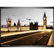Foto canvas schilderij London   Geel, Grijs, Bruin