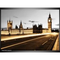 Glas schilderij London   Geel, Grijs, Bruin