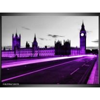 Glas schilderij London | Paars, Zwart, Grijs