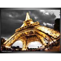 Glas schilderij Eiffeltoren | Geel, Zwart, Grijs