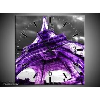 Wandklok op Canvas Eiffeltoren | Kleur: Paars, Zwart, Grijs | F002998C
