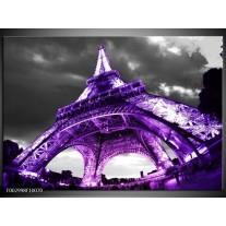 Glas schilderij Eiffeltoren | Paars, Zwart, Grijs
