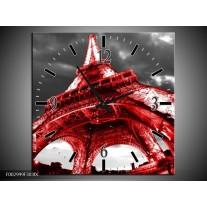 Wandklok op Canvas Eiffeltoren   Kleur: Rood, Zwart, Grijs   F002999C