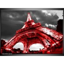 Glas schilderij Eiffeltoren   Rood, Zwart, Grijs