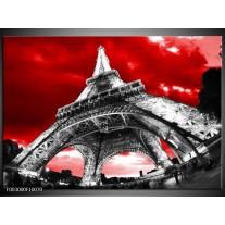 Glas schilderij Eiffeltoren | Rood, Zwart, Grijs