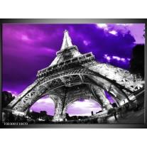 Foto canvas schilderij Eiffeltoren   Paars, Zwart, Grijs