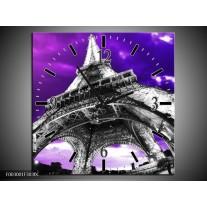 Wandklok op Canvas Eiffeltoren | Kleur: Paars, Zwart, Grijs | F003001C