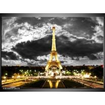 Glas schilderij Eiffeltoren | Grijs, Bruin, Zwart