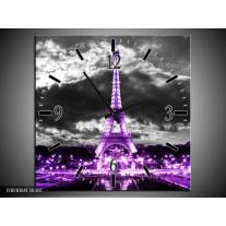 Wandklok op Canvas Eiffeltoren   Kleur: Grijs, Paars, Zwart   F003004C