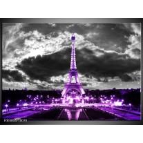 Glas schilderij Eiffeltoren   Grijs, Paars, Zwart