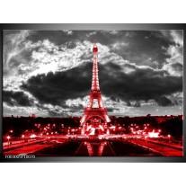 Foto canvas schilderij Eiffeltoren | Grijs, Rood, Zwart