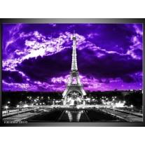 Glas schilderij Eiffeltoren | Grijs, Paars, Zwart