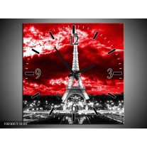Wandklok op Canvas Eiffeltoren | Kleur: Grijs, Rood, Zwart | F003007C