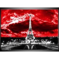 Glas schilderij Eiffeltoren   Grijs, Rood, Zwart