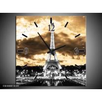 Wandklok op Canvas Eiffeltoren | Kleur: Grijs, Bruin, Zwart | F003008C