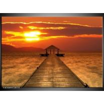 Foto canvas schilderij Uitzicht | Geel, Oranje, Bruin