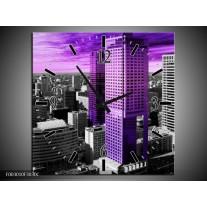 Wandklok op Canvas Gebouw | Kleur: Paars, Zwart, Grijs | F003010C