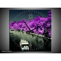 Wandklok op Canvas Boot   Kleur: Paars, Zwart, Grijs   F003012C
