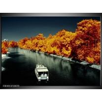 Glas schilderij Boot | Bruin, Zwart, Grijs