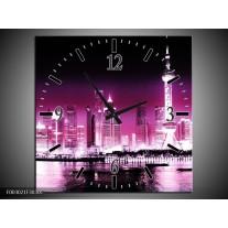 Wandklok op Canvas Nacht | Kleur: Paars, Roze, Zwart | F003021C
