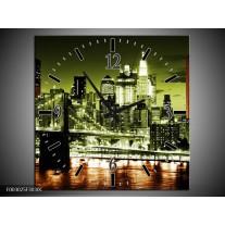Wandklok op Canvas Brug | Kleur: Groen, Bruin, Zwart | F003025C