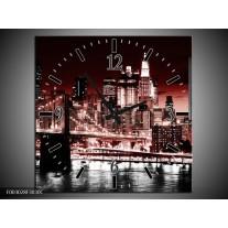 Wandklok op Canvas Steden | Kleur: Rood, Zwart, Wit | F003028C