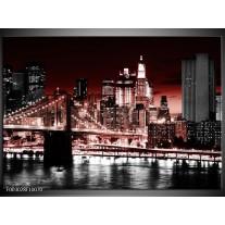 Glas schilderij Steden | Rood, Zwart, Wit