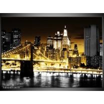Glas schilderij Steden | Goud, Zwart, Grijs