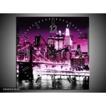 Wandklok op Canvas Nacht | Kleur: Paars, Roze, Zwart | F003032C