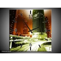 Wandklok op Canvas Nacht | Kleur: Groen, Bruin | F003034C
