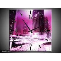 Wandklok op Canvas Nacht | Kleur: Paars, Roze, Wit | F003035C