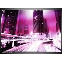 Glas schilderij Nacht | Paars, Roze, Wit