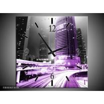 Wandklok op Canvas Nacht | Kleur: Grijs, Paars, Zwart | F003036C