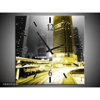 Wandklok op Canvas Nacht | Kleur: Geel, Zwart, Groen | F003037C