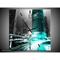 Wandklok op Canvas Nacht | Kleur: Groen, Zwart, Grijs | F003039C