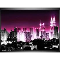 Foto canvas schilderij Nacht | Paars, Roze, Zwart