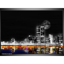 Foto canvas schilderij Nacht | Grijs, Zwart, Oranje