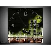 Wandklok op Canvas Nacht | Kleur: Groen, Bruin, Zwart | F003054C