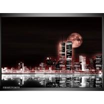 Glas schilderij Nacht | Rood, Zwart, Grijs