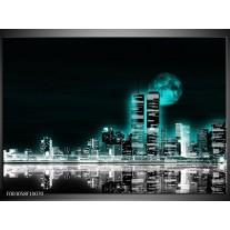 Glas schilderij Nacht | Groen, Zwart, Grijs