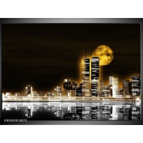 Foto canvas schilderij Nacht   Geel, Bruin, Zwart