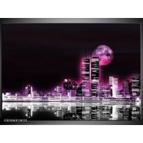Glas schilderij Nacht | Paars, Roze, Zwart