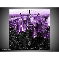 Wandklok op Canvas Nacht   Kleur: Paars, Zwart   F003061C