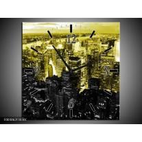 Wandklok op Canvas Nacht | Kleur: Geel, Zwart | F003062C