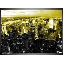 Glas schilderij Nacht | Geel, Zwart