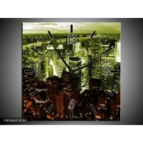 Wandklok op Canvas Steden | Kleur: Bruin, Groen, Wit | F003064C