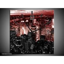 Wandklok op Canvas Modern | Kleur: Rood, Zwart | F003065C