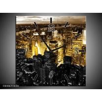 Wandklok op Canvas Steden | Kleur: Geel, Zwart, Wit | F003067C