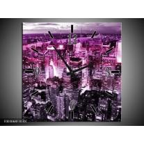 Wandklok op Canvas Steden | Kleur: Paars, Wit, Zwart | F003068C