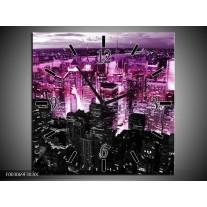 Wandklok op Canvas Modern | Kleur: Paars, Zwart | F003069C